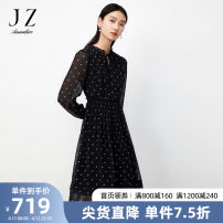 Dress Spring 2021 Flower black XS S M L XL 2XL 3XL 4XL longuette singleton  Long sleeves commute 30-34 years old Type X Jiuzi lady JTBC50080 More than 95% polyester fiber Polyester 100%