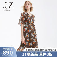 Dress Summer 2021 Flower coffee XS S M L XL 2XL 3XL 4XL longuette singleton  commute V-neck 30-34 years old Jiuzi lady JWAX50054 More than 95% other Other 100% Same model in shopping mall (sold online and offline)