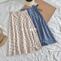 skirt Autumn of 2018 S M Blue apricot Versatile High waist A-line skirt Dot Type A 30% and below other other