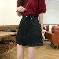 skirt Autumn 2020 S,M,L,XL black Short skirt commute High waist A-line skirt Solid color Type A 18-24 years old pocket Korean version