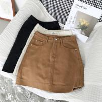 skirt Summer of 2018 S,M,L Khaki, black, apricot Short skirt Versatile Natural waist A-line skirt other Type A 31% (inclusive) - 50% (inclusive)