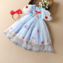 Dress Pink, blue female Other / other 100cm,110cm,120cm,130cm,140cm Other 100% summer princess Short sleeve Solid color other other 2110 Princess Dress other Seven, eight, three, six, five, four, nine Chinese Mainland