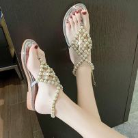 Sandals 35 36 37 38 39 Silver Black PU Moon and silk Pinch toe Flat bottom Flat heel (1cm or less) Summer 2021 Trochanter Korean version Solid color Adhesive shoes Youth (18-40 years old) rubber daily Back space Beaded Roman style pearls Hollow PU PU Fashion sandals Pure e-commerce (online only)