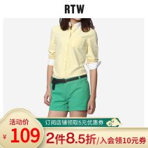 shirt Spring 2016 cotton 96% and above Long sleeves Versatile Regular other Single row multi button shirt sleeve Solid color 25-29 years old Straight cylinder R.T.W Button Cotton 100%
