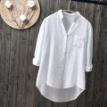 shirt white S M L XL XXL Summer 2017 cotton 96% and above Long sleeves Versatile Regular V-neck Single row multi button routine Solid color 18-24 years old Straight cylinder AP AI Pai AC06 Cotton 100% Pure e-commerce (online only)