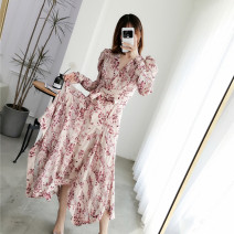Dress Summer 2021 Blue, pink S,M,L longuette singleton  Long sleeves commute V-neck High waist Decor zipper Irregular skirt puff sleeve Others 25-29 years old Type A Retro 31% (inclusive) - 50% (inclusive) other polyester fiber