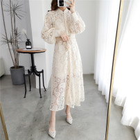 Dress Spring 2020 Apricot long, apricot short S,M,L Mid length dress singleton  Long sleeves commute stand collar High waist Solid color Single breasted A-line skirt bishop sleeve Others 25-29 years old Type A Retro 31% (inclusive) - 50% (inclusive) Lace polyester fiber
