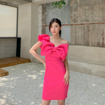 Dress Spring 2021 Pink S,M,L,XL,2XL Middle-skirt singleton  Sleeveless Sweet One word collar High waist Solid color zipper One pace skirt Flying sleeve Oblique shoulder 25-29 years old Type H 91% (inclusive) - 95% (inclusive) polyester fiber