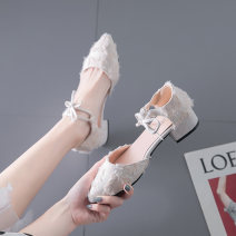 Sandals 35 36 37 38 39 40 cloth Minjianer Baotou Thick heel Middle heel (3-5cm) Summer of 2019 Flat buckle Korean version Solid color Adhesive shoes Youth (18-40 years old) rubber daily Bag heel Thick heel belt buckle Low Gang Hollow PU PU Fashion sandals Shaving Pure e-commerce (online only) Women's