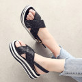 Sandals three hundred and fifty-three billion six hundred and thirty-seven million three hundred and eighty-three thousand nine hundred and forty Gold Silver Black Minjianer Sequin cloth Barefoot Muffin bottom High heel (5-8cm) Summer of 2018 Flat buckle Korean version Solid color Adhesive shoes PU