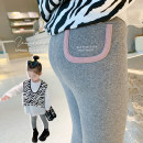 trousers Peach cream female 90cm,100cm,110cm,120cm,130cm,140cm Black, gray spring and autumn trousers leisure time There are models in the real shooting Leggings Leather belt middle-waisted other Don't open the crotch Class A