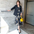 Dress Spring 2021 Black + Decor M,L,XL,2XL,3XL Mid length dress Two piece set Long sleeves commute tailored collar Decor Big swing routine Others Type X miuco Ol style Stitching, printing C0846D0048