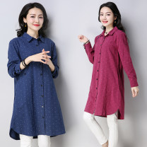 shirt Red, blue M,L,XL,2XL Spring of 2018 cotton 51% (inclusive) - 70% (inclusive) Long sleeves commute Medium length Polo collar Single row multi button routine Dot Straight cylinder Korean version Prints, pockets, buttons
