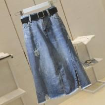 skirt Summer 2020 S [85-100 Jin], m [100-110 Jin], l [110-120 Jin], XL [120-135 Jin], 2XL [135-150 Jin], 3XL [150-165 Jin] Blue, collection and purchase Mid length dress Versatile High waist Irregular Solid color Type A