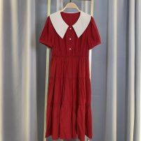 Dress Summer 2021 gules M,L,XL,2XL Middle-skirt singleton  commute