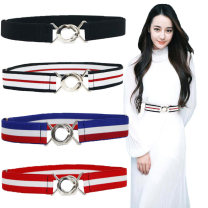 Belt / belt / chain other Black, red, blue, sky blue, dark blue, coffee, decor, army green, khaki, apricot, red white, black red, white printing female Waistband Versatile Single loop Children, youth, youth, middle age Smooth button Round buckle soft surface 3cm alloy Bare, woven, elastic KEY WORLD