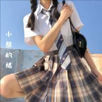 skirt Summer 2020 XS,S,M,L,XL,2XL Bear's skirt 43cm + bow tie, bear's skirt 48CM + bow tie, bear's skirt 43cm + Haohai short sleeve, bear's skirt 48CM + Haohai short sleeve, bear's skirt 43cm + Haohai long sleeve, bear's skirt 48CM + Haohai long sleeve Short skirt Sweet High waist A-line skirt Type A