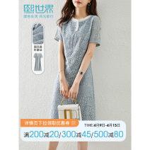 Dress Summer 2021 Sea blue S M L XL XXL Mid length dress singleton  Short sleeve commute routine 30-34 years old Sllsky / Xi world 142LL8062 More than 95% polyester fiber Polyester 100%
