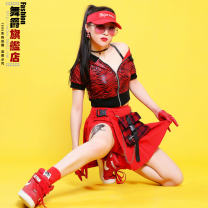 skirt Summer of 2019 S M Red skirt, black skirt, plaid skirt vest, one size fits all, high elasticity Short skirt motion High waist Pleated skirt lattice 18-24 years old More than 95% other Dance Baron other Pleated chain pleated pocket lace up three-dimensional decoration asymmetric zipper stitching