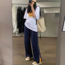 Women's large Summer 2020, autumn 2020 Black, navy blue M (90-100 kg), l (100-120 kg), XL (120-140 kg), 2XL (140-160 kg), 3XL (160-180 kg), 4XL (180-200 kg recommended) trousers singleton  commute Korean version cotton 18-24 years old