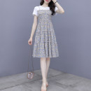 Dress Summer 2021 Blue and red flowers S M L XL 2XL Mid length dress Fake two pieces Short sleeve commute Crew neck High waist Decor Big swing routine Others 25-29 years old Dolanzi Korean version 319#1203 More than 95% other Other 100% Pure e-commerce (online only)