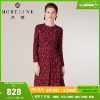 Dress Winter of 2019 Red rice dots 38/M 40/L 42/XL 44/XXL 46/XXXL 48/XXXXL Mid length dress singleton  Long sleeves commute Crew neck middle-waisted Decor Socket other routine Others 40-49 years old Type A MORELINE Ol style printing More than 95% polyester fiber Pure e-commerce (online only)