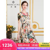 Dress Summer 2021 Camel flower reserve color 36/S 38/M 40/L 42/XL 44/XXL 46/XXXL 48/XXXXL Mid length dress singleton  Short sleeve commute V-neck middle-waisted Decor zipper Big swing routine Others 40-49 years old Type X MORELINE Ol style 30% and below other Lycra Lycra