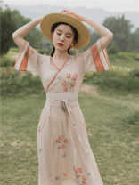 Dress Summer 2020 Picture color S,M,L Mid length dress Short sleeve commute V-neck High waist Decor Big swing pagoda sleeve Others Type A Retro printing