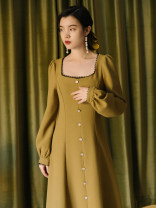 Dress Winter 2020 Picture color S,M,L Mid length dress singleton  Long sleeves commute square neck High waist Solid color Socket A-line skirt routine Type A Retro Button, lace
