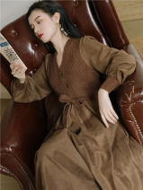 Dress Winter 2020 Brown, light apricot Average size Mid length dress singleton  Long sleeves commute V-neck High waist Solid color bishop sleeve Type A Retro Splicing