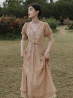 Dress Summer 2021 lattice S,M,L Mid length dress singleton  Short sleeve commute V-neck High waist lattice A-line skirt Type A Retro