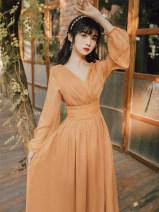 Dress Autumn 2020 orange S,M,L longuette singleton  Long sleeves commute V-neck High waist Solid color A-line skirt bishop sleeve Retro