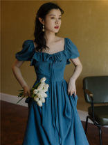 Dress Summer 2021 Blue, white S,M,L Mid length dress singleton  Short sleeve commute square neck High waist Solid color puff sleeve Other / other Retro Lotus leaf edge