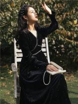 Dress Winter 2020 black S,M,L Mid length dress singleton  Long sleeves commute V-neck High waist Solid color routine Retro