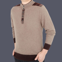 T-shirt / sweater Others Fashion City 13159 camel, 13159 grey 165,170,175,180,185,190 thickening Socket Half high collar Long sleeves winter easy 2018 leisure time Basic public middle age routine Solid color No iron treatment Fine wool (16 and 14 stitches) Button decoration