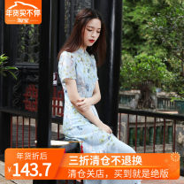 Dress Summer of 2018 wathet XS,S,M,L,XL Mid length dress Fake two pieces Short sleeve commute stand collar middle-waisted Big flower Socket A-line skirt routine Type X Pettifield Retro Ruffles, buttons, lace Y349 / huajianyi 51% (inclusive) - 70% (inclusive) Lace