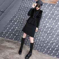 Women's large Winter of 2019, autumn of 2019 black 3XL suggests 135-155 kg, 4XL 155-170 kg, 5XL 170-190 kg, 6xl 190-220 kg Dress Two piece set commute Self cultivation moderate Conjoined Long sleeves Solid color Korean version Crew neck routine cotton Three dimensional cutting routine fungus