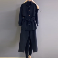 Women's large Spring 2021 black 3XL recommendation 135 - 155 Jin , 4XL recommendation 155 - 175 Jin , 5XL recommendation 175 - 190 Jin , 6xl recommendation 190 - 220 Jin Jacket / jacket Two piece set commute Straight cylinder moderate Cardigan Long sleeves Solid color Ol style Crew neck routine belt