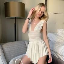Dress Summer 2021 Black, off white L,M,S Middle-skirt Sleeveless street V-neck High waist Solid color A-line skirt Zipper, bandage, stitching, lace up, fold, open back 81% (inclusive) - 90% (inclusive) other other Europe and America