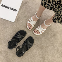 Sandals 35,36,37,38,39 White, black, brown PU Other / other Square head Flat bottom Low heel (1-3cm) Summer 2021 Flat buckle Korean version Solid color Adhesive shoes Youth (18-40 years old) rubber daily Back space Thick heel, thin band combination, Roman style Low Gang Hollow PU PU Roman shoes