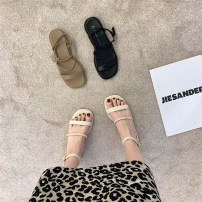 Sandals 35,36,37,38,39 Khaki, black, beige PU Other / other Barefoot Flat bottom Low heel (1-3cm) Summer 2021 Flat buckle Korean version Solid color Adhesive shoes Youth (18-40 years old), general rubber daily Back space Thin band combination , Roman style , weave Low Gang Hollow PU PU Flat buckle