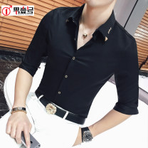 shirt Youth fashion Others S,M,L,XL,2XL,3XL routine Pointed collar (regular) three quarter sleeve Self cultivation daily summer youth Polyethylene terephthalate (PET) 98% polyurethane elastic fiber (spandex) 2% tide 2018 Solid color No iron treatment polyester fiber badge Easy to wear More than 95%