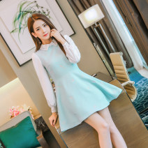 Dress Fall 2017 Light blue white S M L XL Short skirt Fake two pieces Long sleeves commute Polo collar middle-waisted Solid color zipper Princess Dress routine 25-29 years old ATAR Korean version Embroidered lace More than 95% polyester fiber Polyester 100% Pure e-commerce (online only)