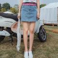 skirt Spring 2021 S M L Blue skirt Short skirt Natural waist 25-29 years old Q1054-1 More than 95% ATAR polyester fiber Polyester 100% Pure e-commerce (online only)