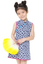 cheongsam navy blue Cotton 100% Official pictures summer other Pure cotton (95% and above) Class A