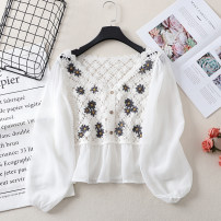 Lace / Chiffon Summer 2021 Apricot, white Average size Long sleeves Versatile Socket singleton  easy have cash less than that is registered in the accounts V-neck Decor other 18-24 years old 81% (inclusive) - 90% (inclusive) polyester fiber