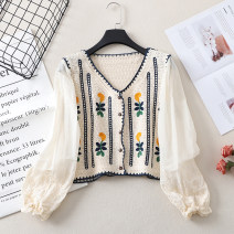 Lace / Chiffon Spring 2021 Coffee, dark blue Average size Long sleeves Versatile Cardigan singleton  easy have cash less than that is registered in the accounts V-neck Decor other 18-24 years old Stitching, crocheting, hollowing out and embroidery 81% (inclusive) - 90% (inclusive) cotton