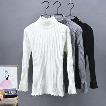 sweater Winter 2020 Average size High collar black, high collar white, wave black, wave white, wave light gray Long sleeves Socket singleton  Regular other 30% and below Half high collar Regular commute routine Solid color Self cultivation Fine wool cotton
