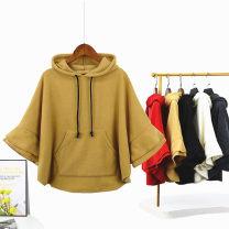 Sweater / sweater Spring 2021 Dark gray, red, black, off white, light khaki Average size elbow sleeve routine Socket singleton  Plush Hood Bat type commute Bat sleeve Solid color 31% (inclusive) - 50% (inclusive) Korean version other Ruffles, stitching, asymmetry