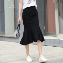 skirt Summer 2021 S M L XL XXL 3XL black Mid length dress commute High waist skirt Solid color Type H 25-29 years old F81XJ6615 91% (inclusive) - 95% (inclusive) knitting Wind whispers cotton Resin fixation splicing Korean version Cotton 95% polyurethane elastic fiber (spandex) 5%